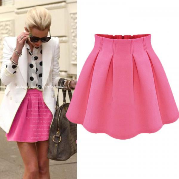 Fashion Women Ladies Flared Pleated Stretch High Waist Short Mini Skirt Dress