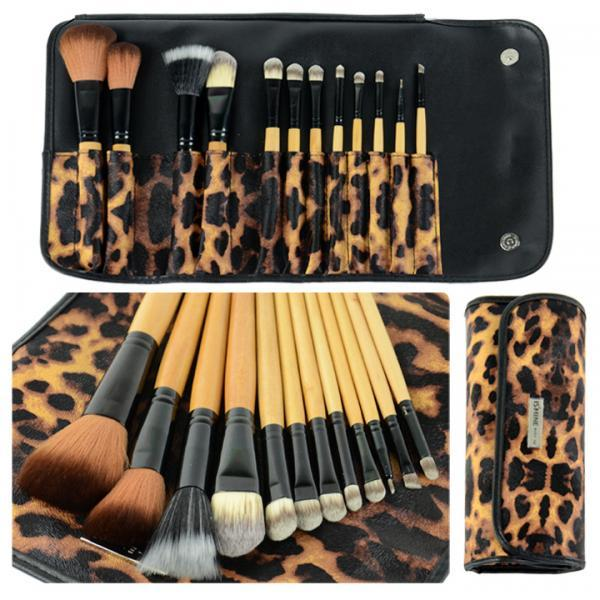 12 Pcs Makeup Brush Set Eyebrow Pencil Lip Liner Leopard Holder Bag