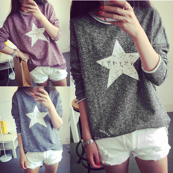 Sexy Fashion Fall Vintage Pullover Women Sweaters Casual Long Sleeved Shirt