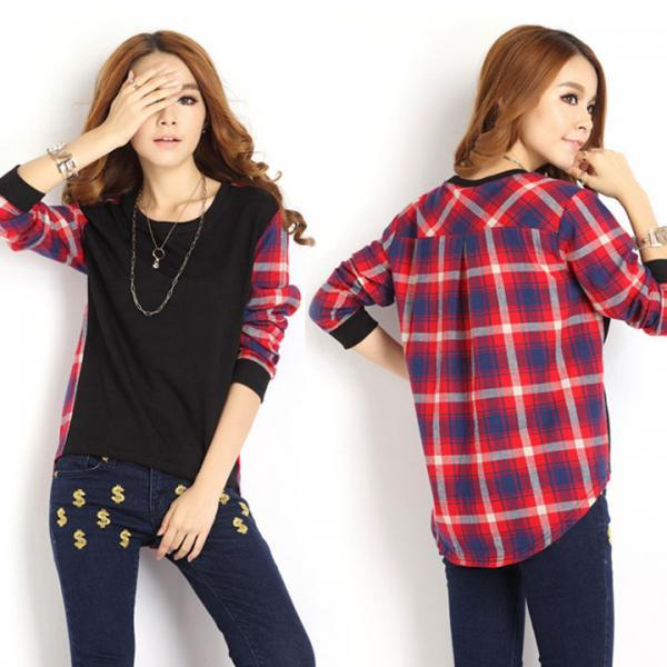 Women Plaid Checked Long Sleeve Casual Tee Shirt Loose T Shirt Tops Blouse