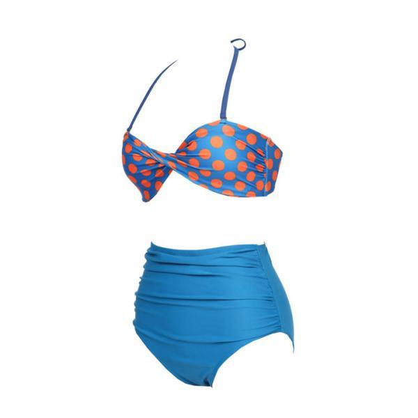 Plus Size Striped High Waist Bikini