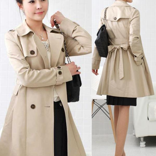 Double Breasted Lapel Long Trench Coat