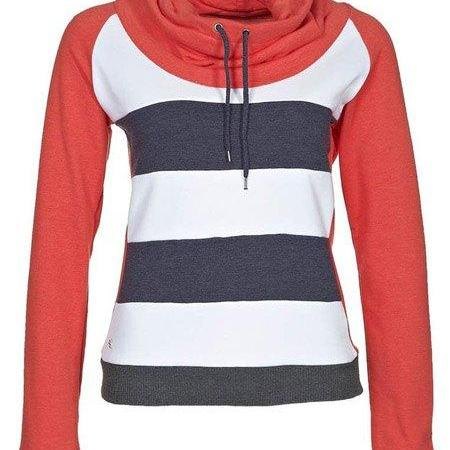Drawstring Striped Short Womens Hoodie
