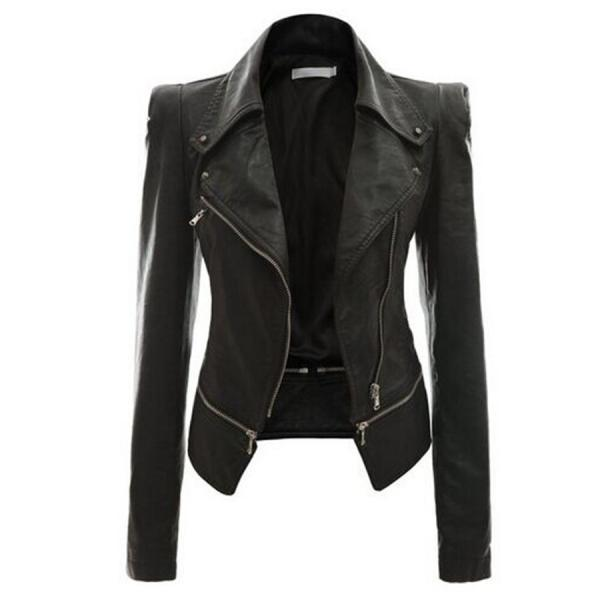 Zippered Turn Down Collar PU Jacket