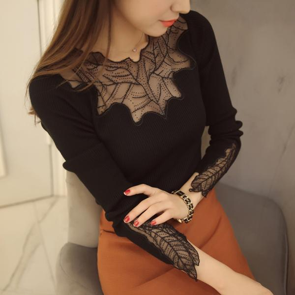 Sexy Round Neck Long Sleeve See-Through Slimming Knitwear For Women