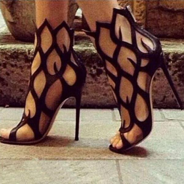 Open Toe Cut Out Gladiator Stiletto Heel Women's Sandals