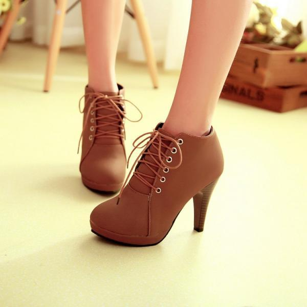Round Toe Lace Up Ankle Stiletto High Heel Boots