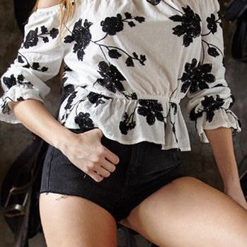 Off-shoulder Flower Print Strapless Loose Sexy Blouse