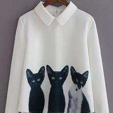 Long Sleeve Pullover Blouse with Three Cats Print