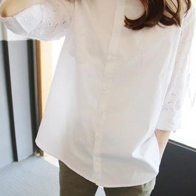 Turn-down Collar Lace Hollow Out Long Sleeves Casual Blouse