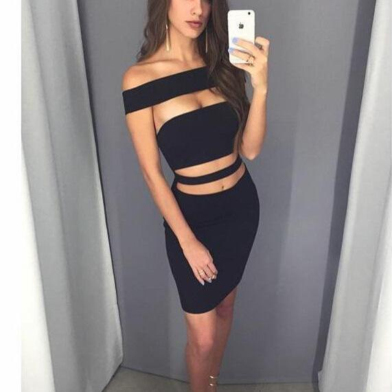Bodycon Off Shoulder Sleeveless Hollow Out Short Dress