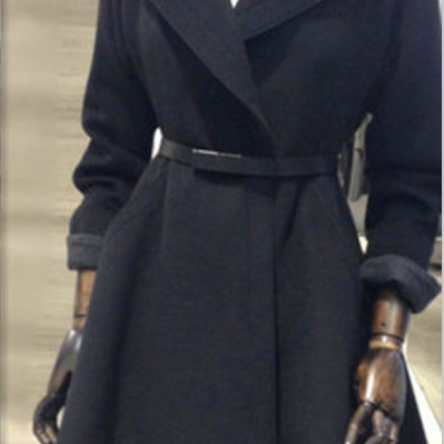 Belt Lapel Pleated Solid Pockets Long Coat