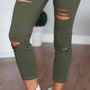 High Waist Ripped Hole Draw String Skinny Elastic 9/10 legging