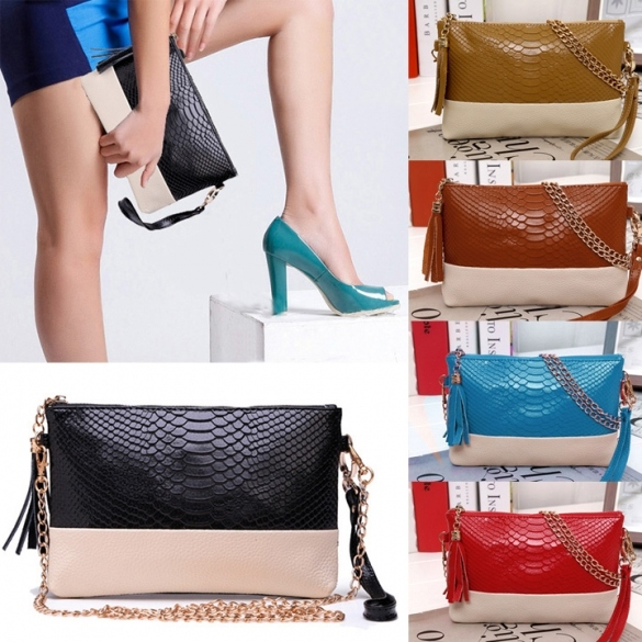 New Women Synthetic Leather Tassel Bag Clutch Bags Day Shoulder Messenger Bag