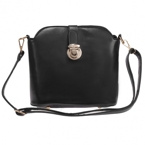Mini Leather Crosssbody Bag With Metal Buckle Closure