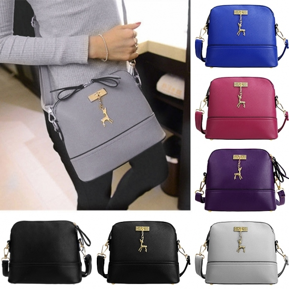 Women Fashion Synthetic Leather Small Solid Handbag Cross Body Shoulder Bags