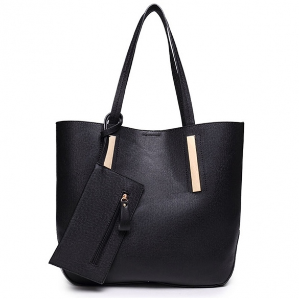 New Women Ladies Synthetic Leather 3pcs Shoulder Bag Handbag Messenger Bag Clutch Pure Color Casual Party Tote Bag