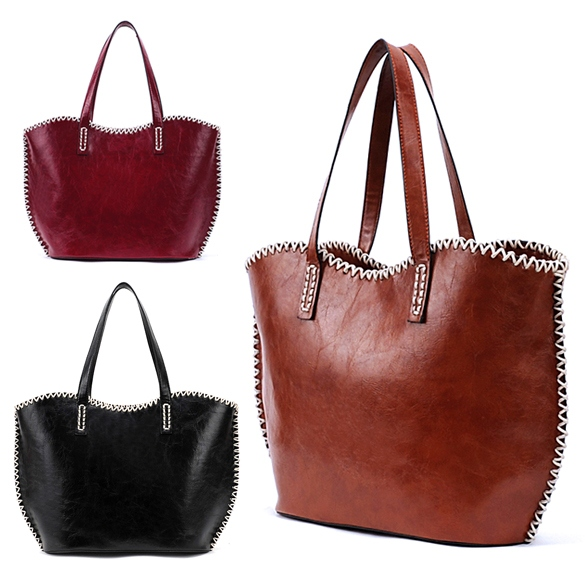 Women's Girls Fashion Western Pattern Plaited Side PU Leather Tote Bag Shoulder Bag Handbag