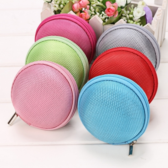 Portable Round Hard Earphone Carrying Case Earbuds SD/ TF Cards Storage Wallet
