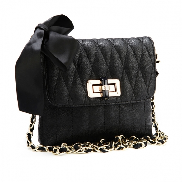 Ladies Chain Shoulder Bag Bowknot Cross Mini Bag