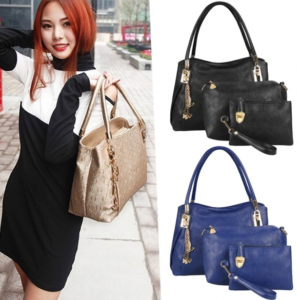 New Fashion Women 3pcs Synthetic Leather Embossing Bag Set