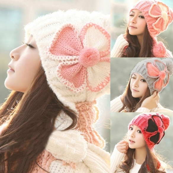 Stylish New Women's Knit Winter Warm Cap Hat Ski Slouch Flower Pattern