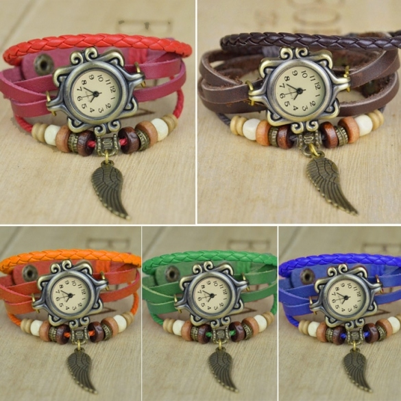 Many Colors Fashion Quartz Weave Wrap Synthetic Leather Bracelet Women's Wrist Watch