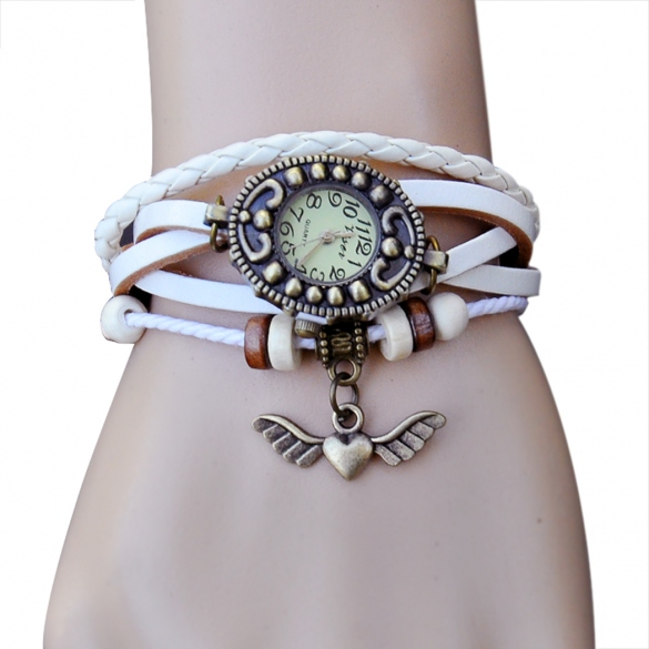 Women's Vintage Style Bronze Angel Heart Weave Wrap Synthetic Leather Bracelet Wrist Watch