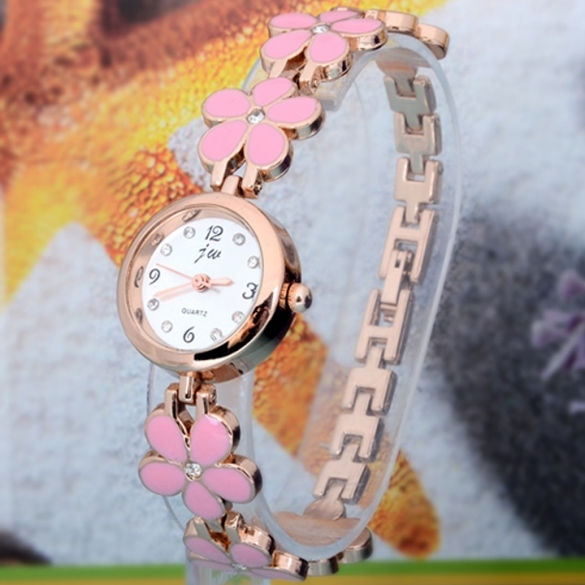 Women's Daisies Flower Rose Gold Bracelet Wrist Watch Quartz