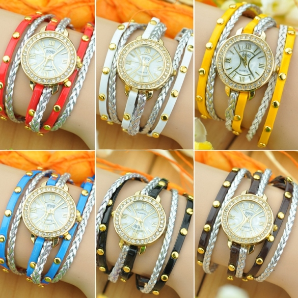 Women's Synthetic Leather Woven Punk Stylish Watches Golden Shell Rivet Quartz Wrist Watch