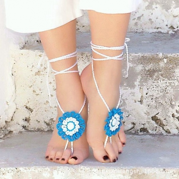 Hot Fashion Women Knit Hand-made Crochet Floral Lace Up Casual Beach Party Anklets