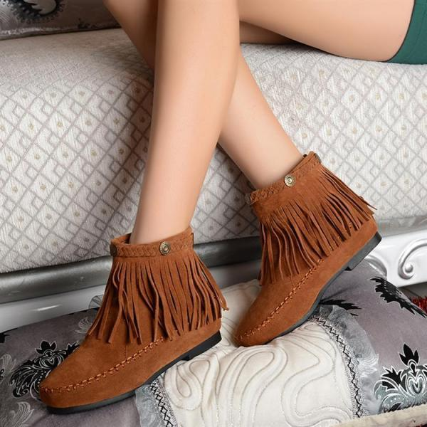 Fashion Flat Tassel Height Suede Snow Short Boots