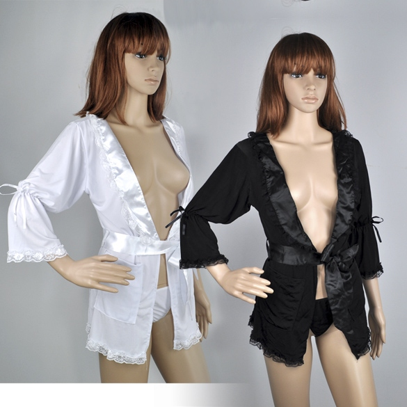 Women Sexy Lingerie Epigamic Lace Bath Robe Gown