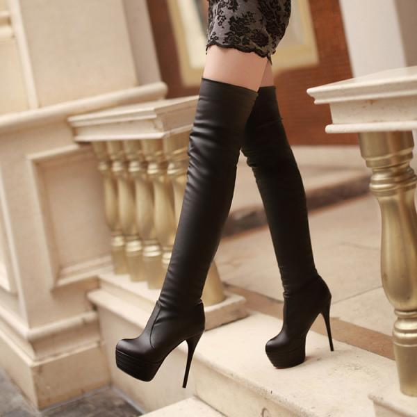 Sexy Knee-High Soft PU Nightclubs Martin Boots
