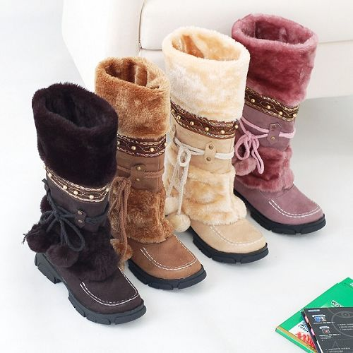 Fashion Warm Fur Tassel Snow Combat Boots