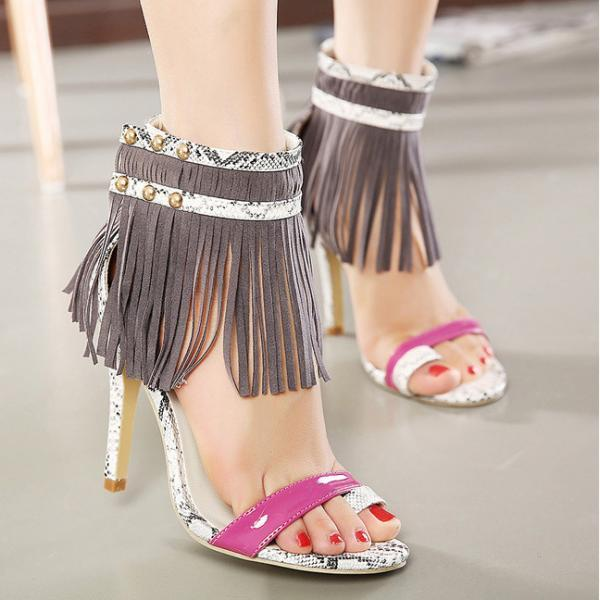 Beautiful Tassels Snake Print Sandals