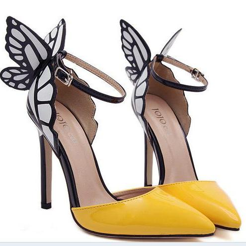 Dreamed Butterfly Pointed Color Matching High-Heeled Sandals