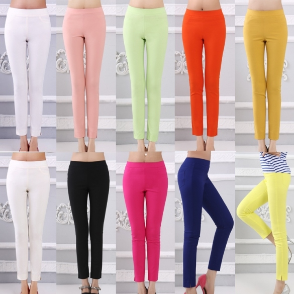 Women's Casual Pencil Pants Slim Long Trousers FINEJO