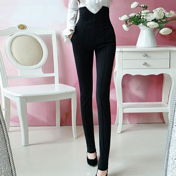 Ladys Black High Waist single-breasted pencil pants