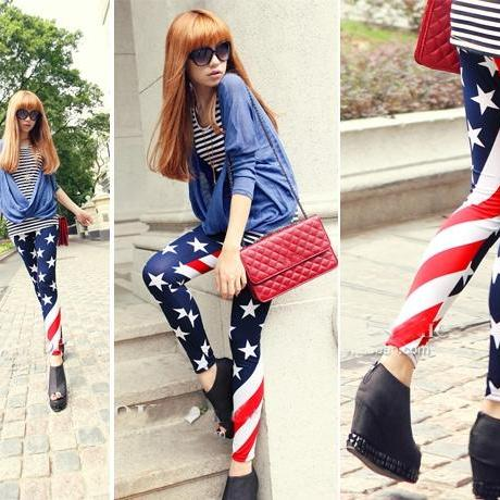 New Women Stars and Stripes USA Full Length Ladies American Flag Leggings Slim Fit