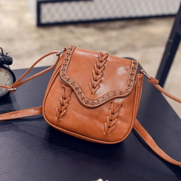 New Women Synthetic Leather Messenger Bag Weave Hollow Soft Flap Casual Outdoor Shoulder Bag