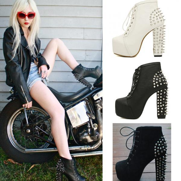 Rock Style Rivet Decoration High-Heeled Short Boots