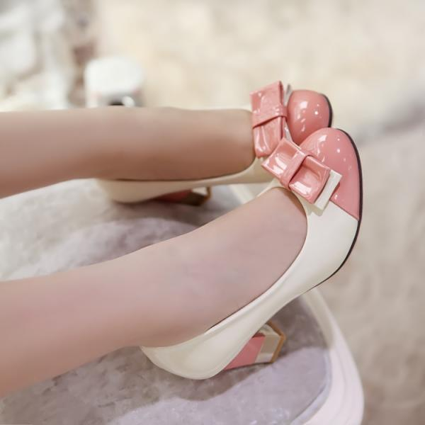 Sweet Bowknot Color Matching High Heeled Shoes