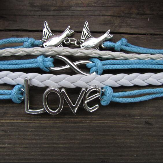 Classic Love Dove Eight Hand-made Leather Cord Bracelet