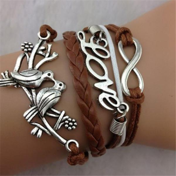 Love Birds Multilayers Leather Cord Bracelet