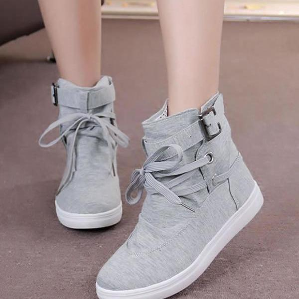 High Tops Belt Buckle Lace Up Canvas Sneakers