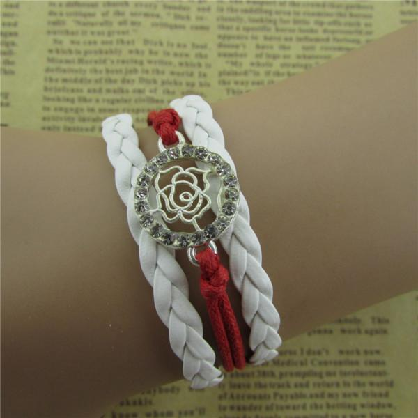 Beautiful Crystal Rose Woven Bracelet