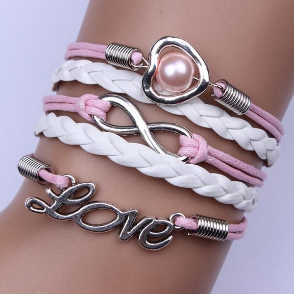 Heart Pearl Woven Multilayer Bracelet