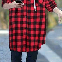 Plaid Long Sleeves Loose Hooded Long Coat