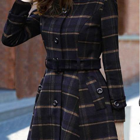 High Neck Long Sleeves Slim Flared Hem Long Plaid Coat With Belt